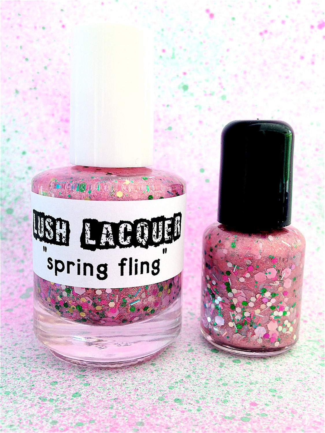 Spring Fling :  Custom-Blended Glitter Nail Polish / Lacquer         (One regular size bottle 15 ml size)