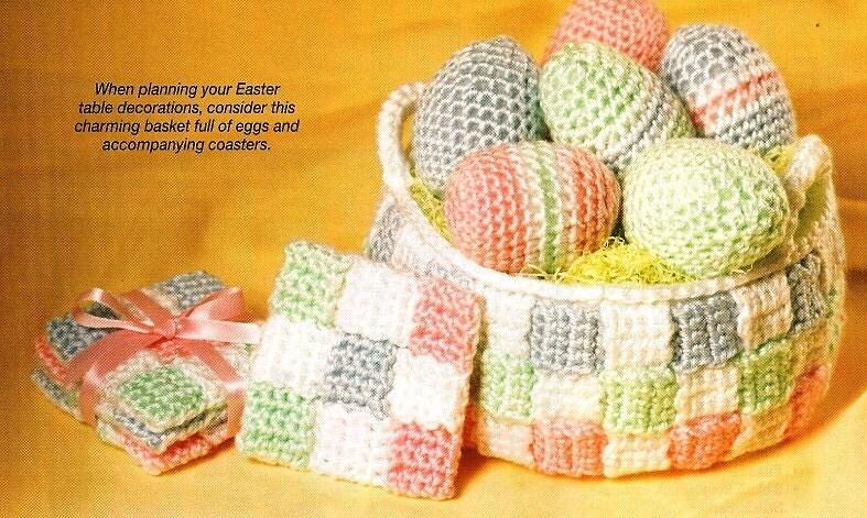 EASTER COASTERS, EGGS AND BASKET Crochet. Pinterest