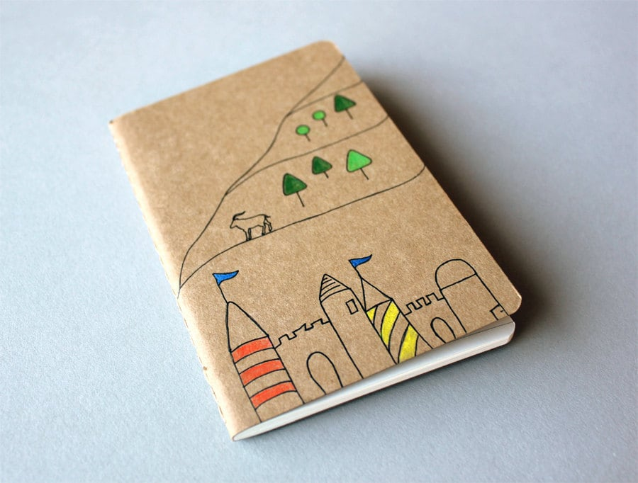 Hand Drawn Pocket Journal Moleskine Cahier Notebook - Billy Goat Castle Fairy Tale - myhideaway
