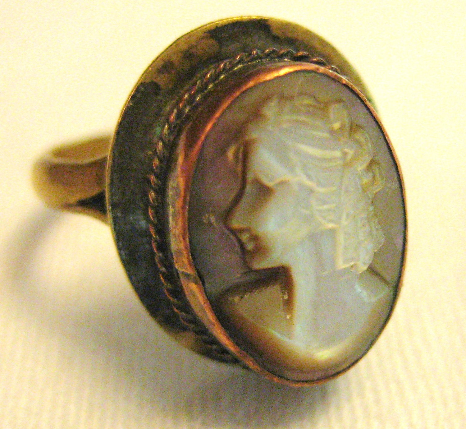 Vintage Mother of Pearl Cameo Ring by Barneche - Barneche
