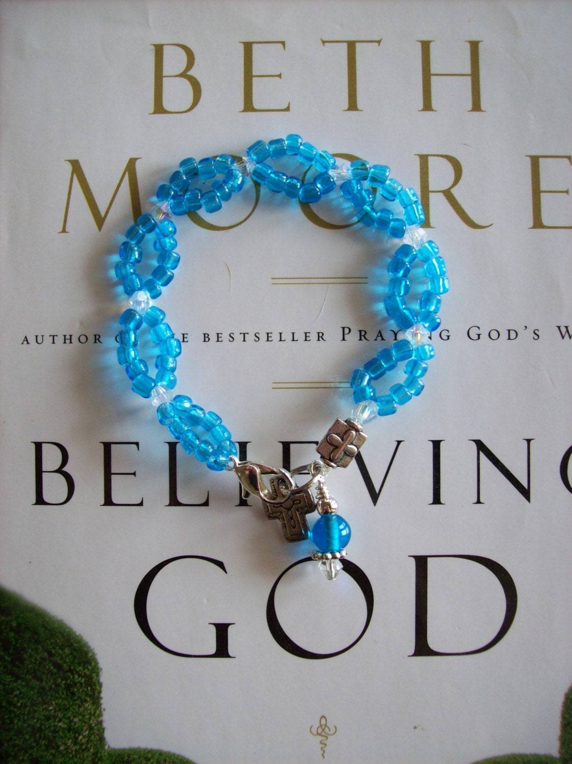Beth Moore, Believing God, Aqua Blue Seed Bead and Crystal Bracelet-Made to Order