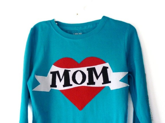 Mothers Day Girls Shirt I Heart Mom Tattoo Inspired Size 6 by TrashN2Tees - TNTees