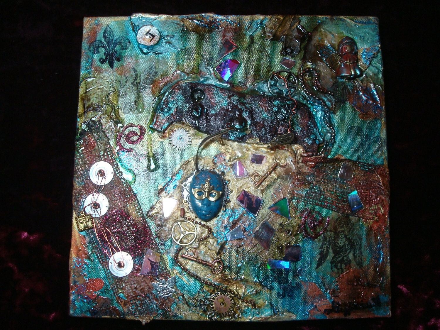 Steampunk Mixed Media Abstract Painting by Gypsie