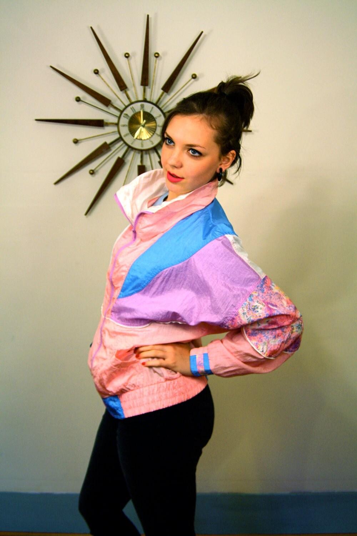 Vintage 1980's Colorful Puffy Ladies Windbreaker Athletic Works Pink Blue White Purple Pastel Color Block Nylon Coat 80's Jacket - posiesforlulu