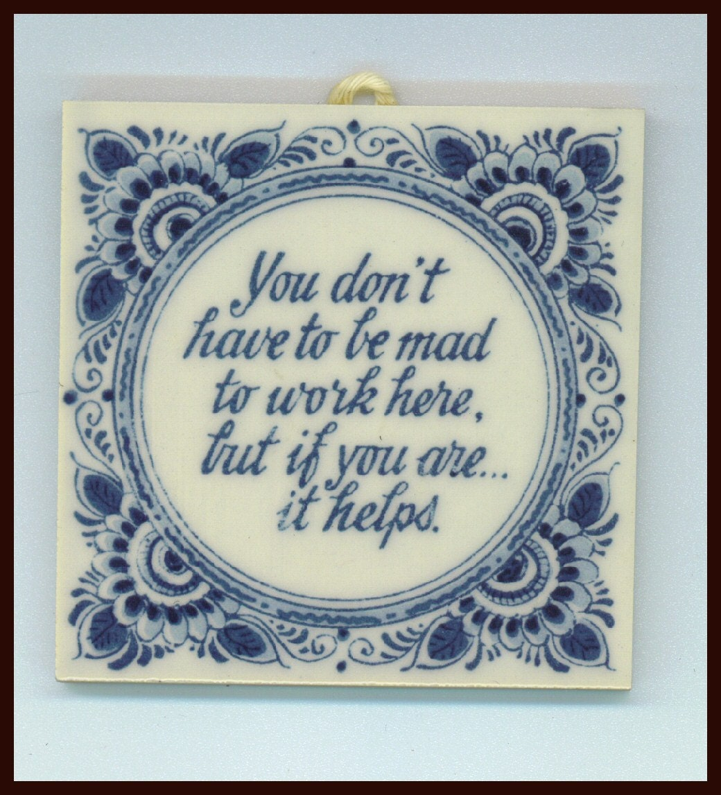 Delft Blauw Blue Tile Hanging Holland  Mad in Your Workplace