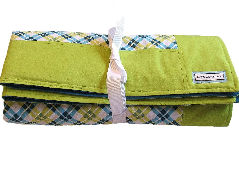Modern Plaid Baby Blanket - Teal and Lime Nursery Blanket with Border - TurtleDoveLane