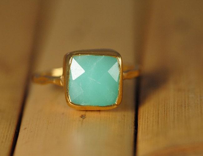 On Backorder: Gemstone Ring - 18k Gold Vermeil Ring - Chrysoprase Bezel Ring