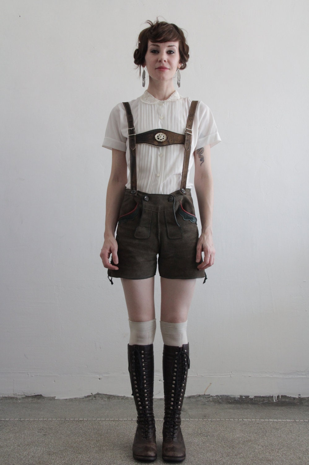 Vintage Lederhosen . Harness . Suede Shorts . Made in Germany . Mountain Wear - VeraVague