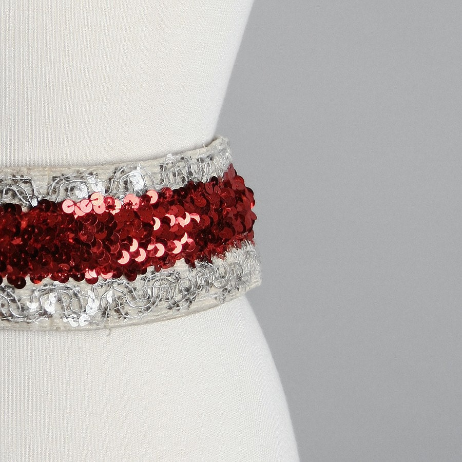 Vintage Sequin Fashion Belt - Sparkle Flashy Cherry Red and White Costume Belt - Long and Large