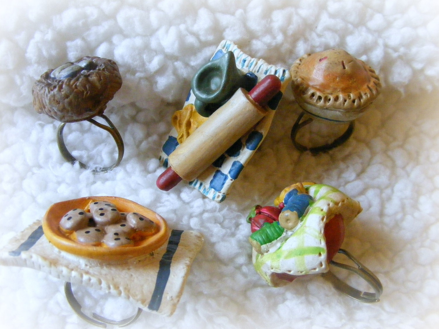 Rings Your Choice of Style Pie, Nest, Cookies, Sewing Bowl, Bakers Tools