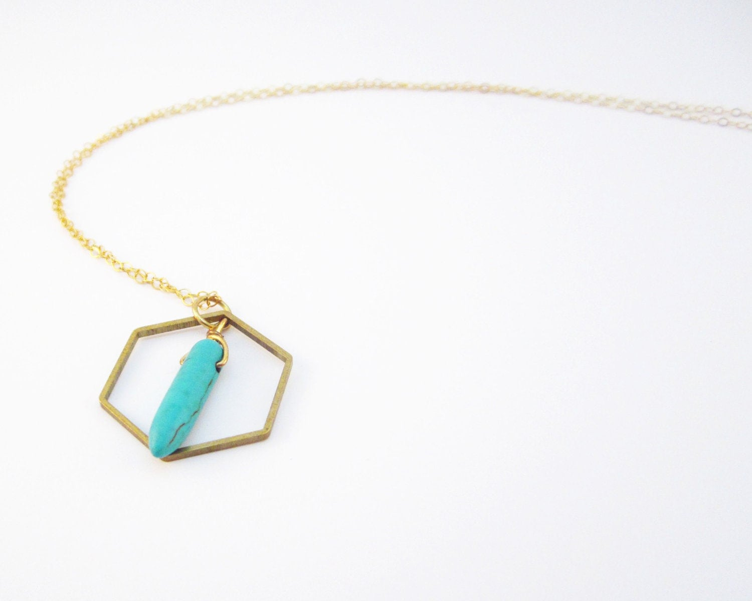 Hexagon Turquoise Necklace 14k Gold Filled Chain Everyday and Layering   Christmas Holiday 2012 - LaurenRoseJewlers
