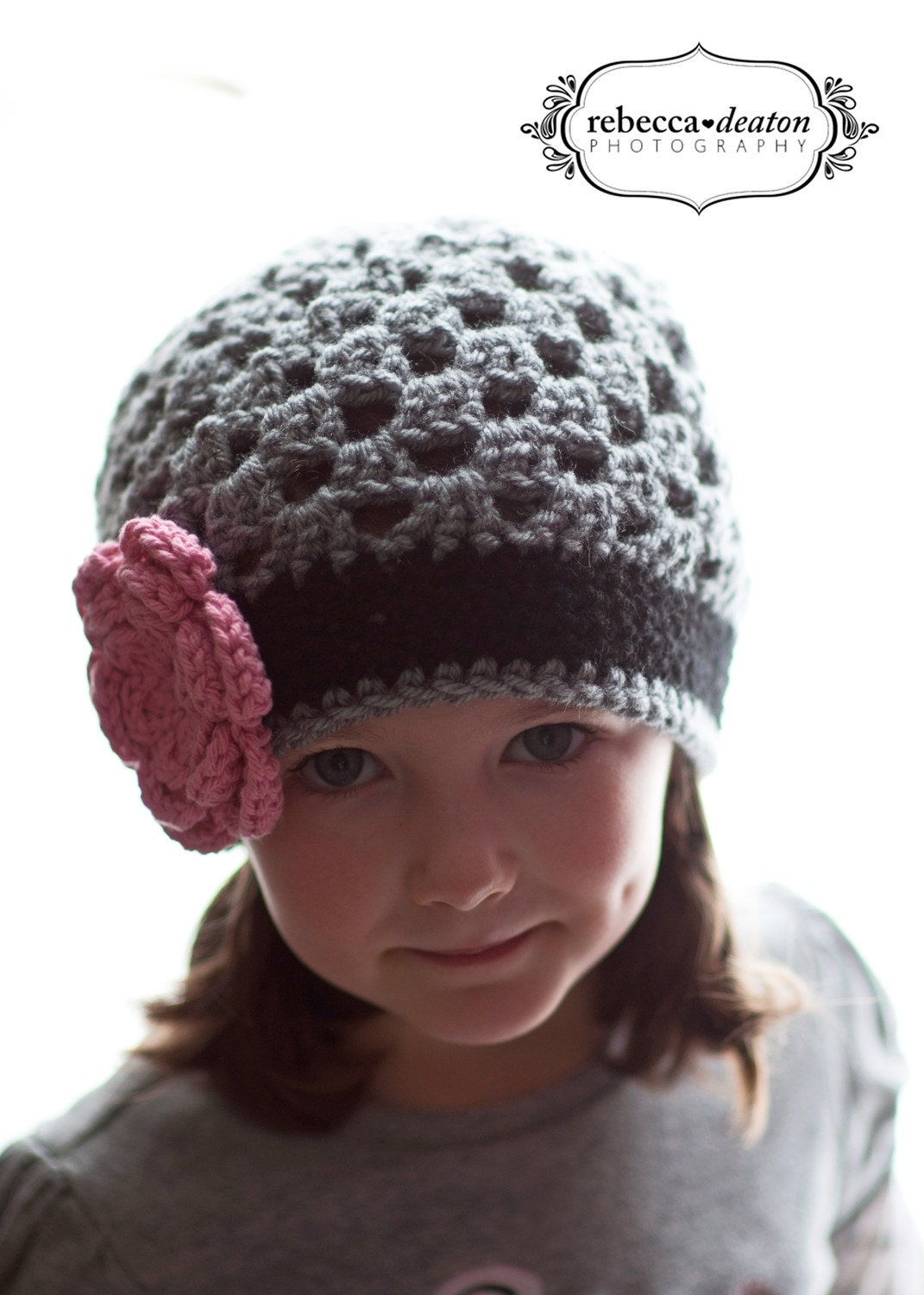 Girls Grey and Black Crochet Beanie Hat with Pink Flower - Baby Toddler Children - onajeans