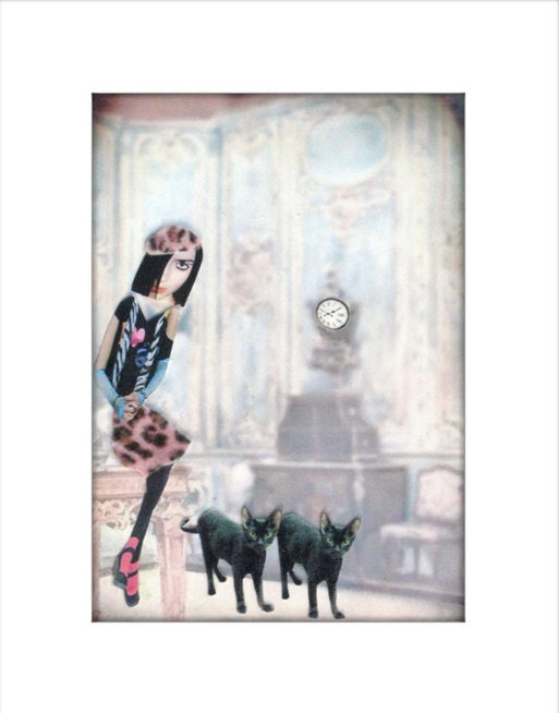 black cats collage pink leopard lady art tagt team