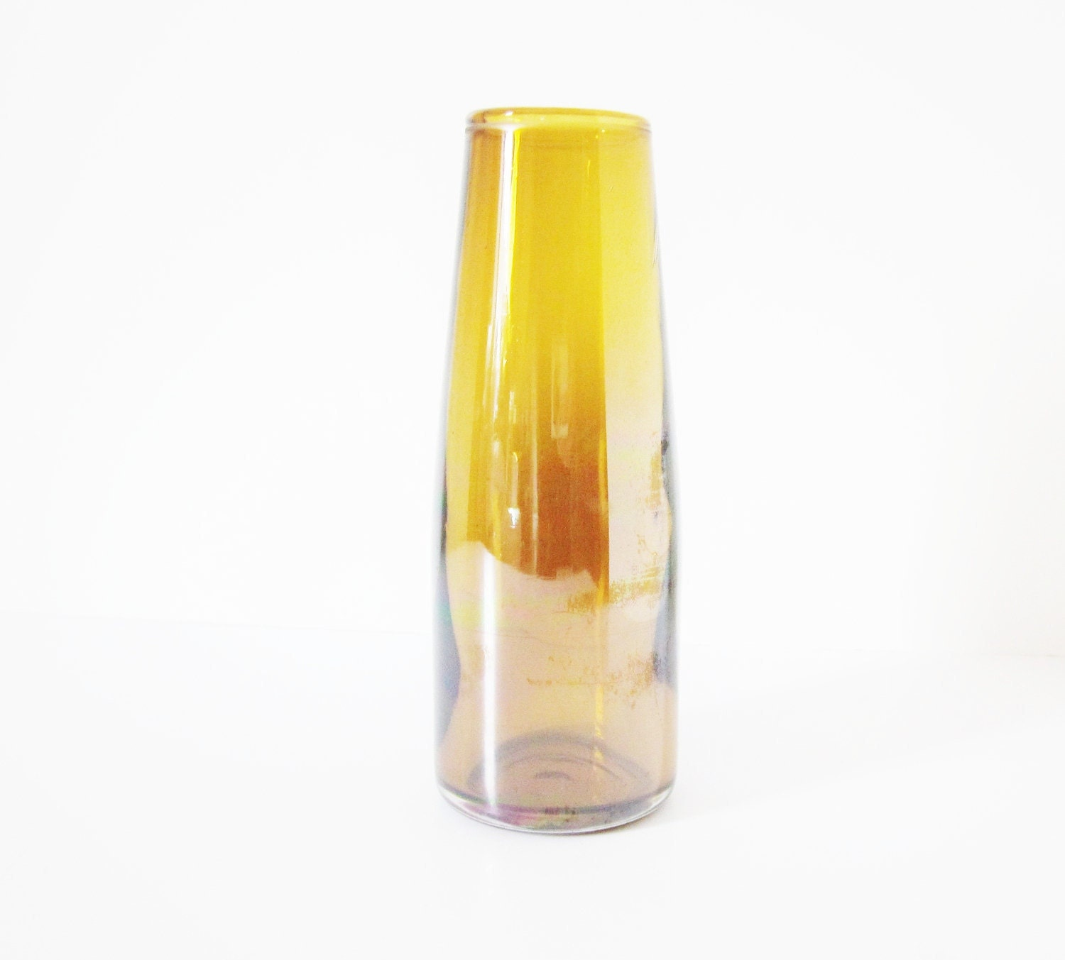 Vintage Amber Art Glass Vase Topaz Golden Iridescent Sheen - jarmfarm