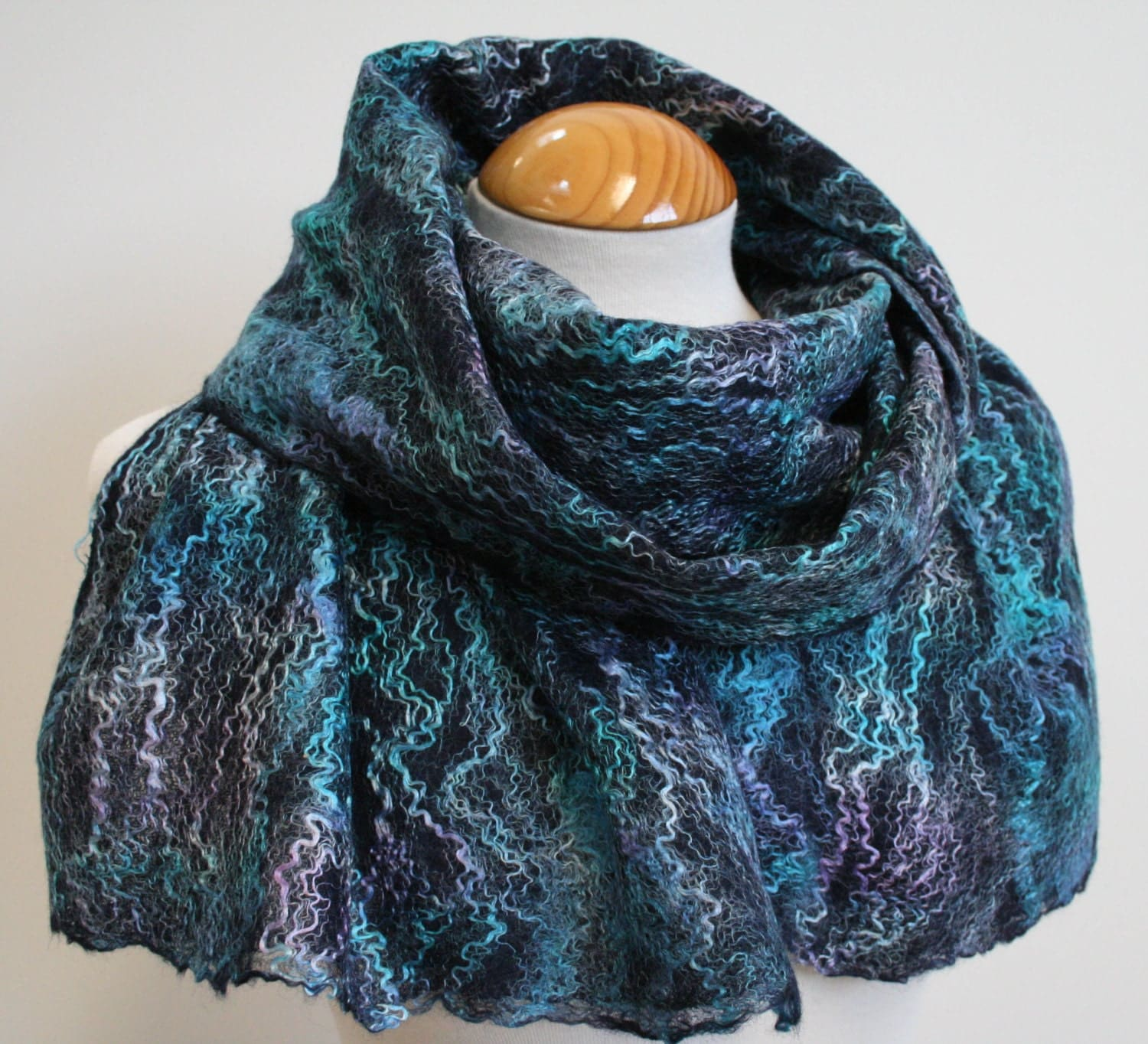 Hand Dyed, Nuno Felt Scarf on Cotton, Cool Ocean, Turquoise and Lilac on a Navy Background - FeltSoLovely