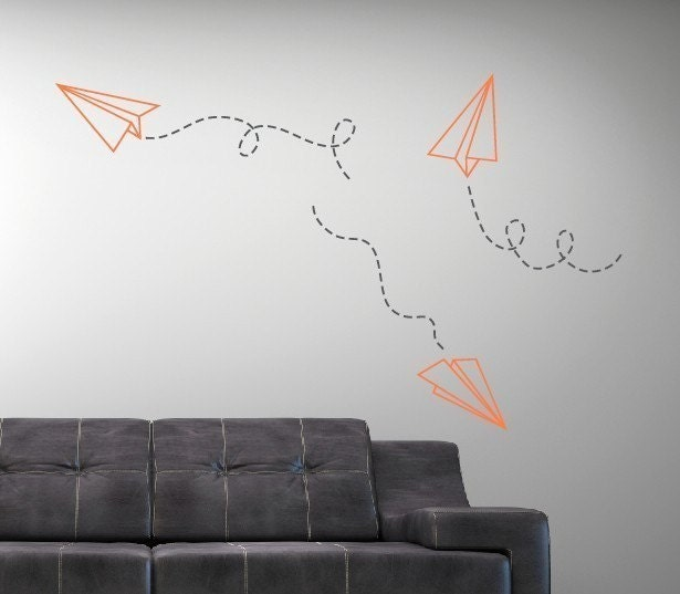 Paper Airplane Vinyl Wall Decal - Children Boy Nursery - Living Room College Dorm