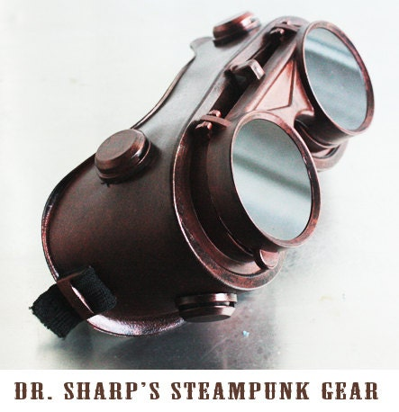 Copper Finish Steampunk Goggles by Dr. Sharp - DrSharpSteampunkGear
