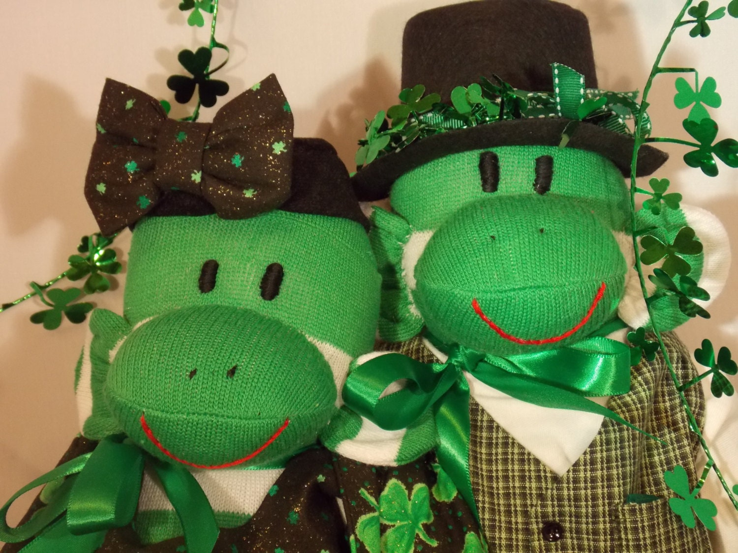St. Patricks Sock Monkey Couple - Personalized.  OOAK.  Free Name Embroidery.