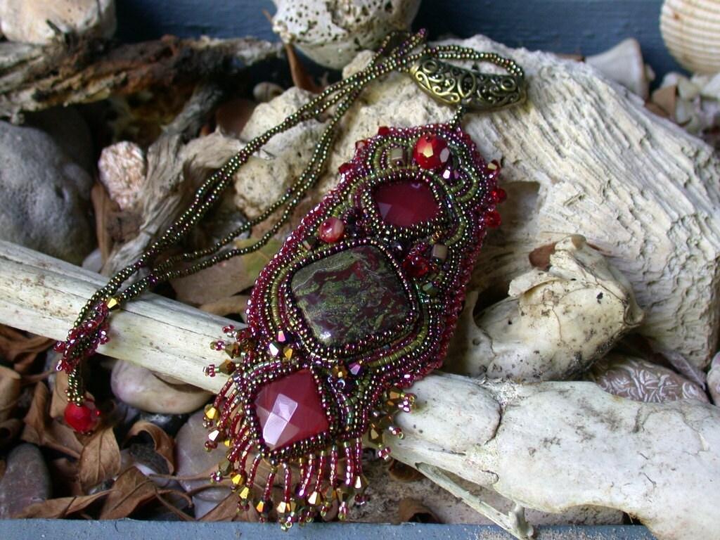 Dragon's Blood Talisman--Bead Embroidery necklace/pendant - WanderingFireGallery