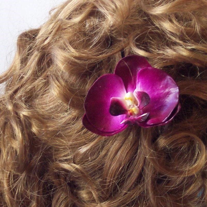 Зарезервировано листинг JazzybellRG - Никола цветок орхидеи волос Pin Бургундии Фиолетовый