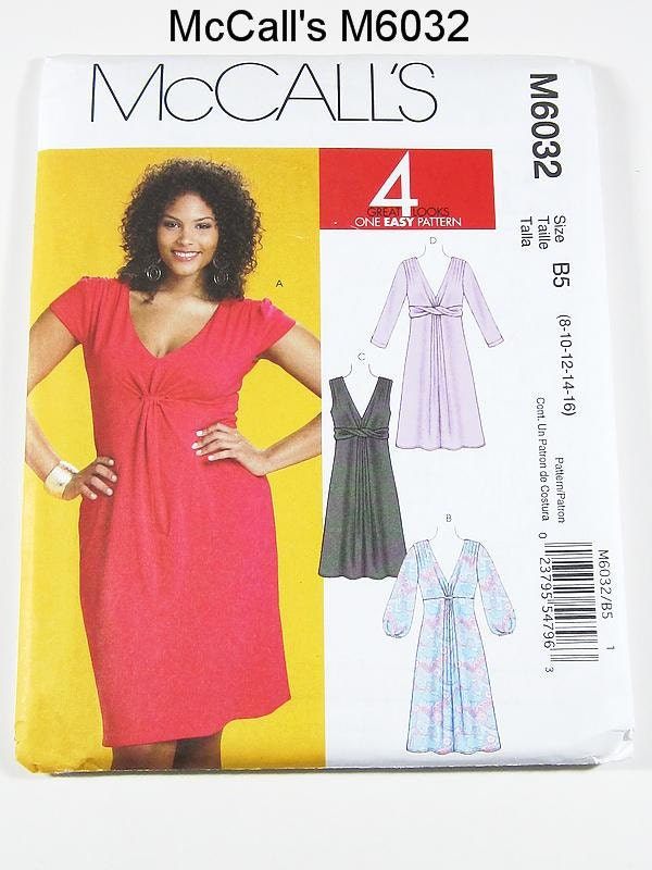 McCalls Dress Pattern M6032 - Misses' Dress in 4 Variations - SZ 8/10/12/14/16