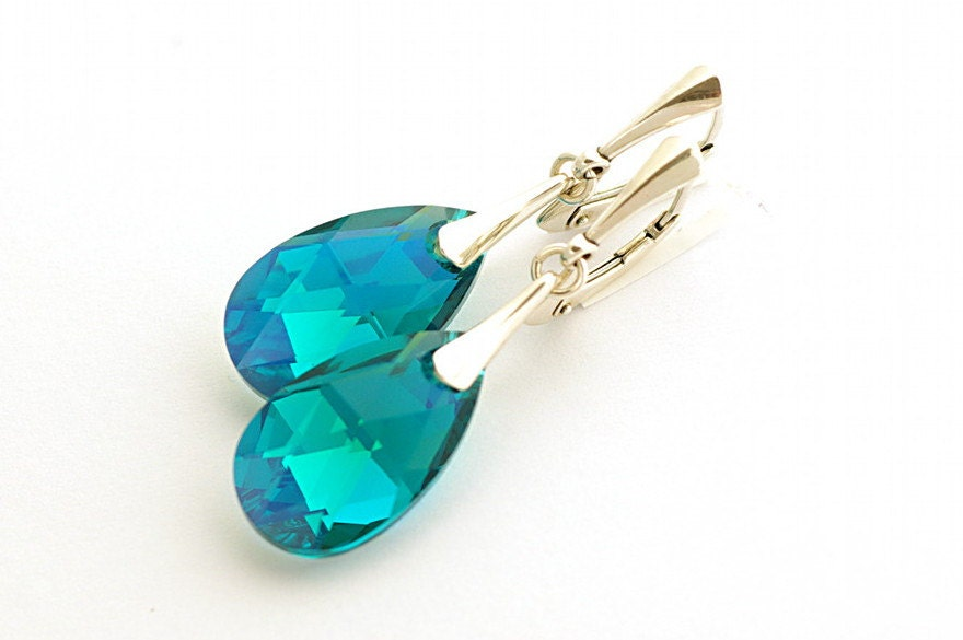 ON SALE, Blue Zircon Earrings, Blue Green Earrings, Swarovski Blue Zircon, Swarovski Pear-shaped 22mm, sterling silver 925 - cardioceras