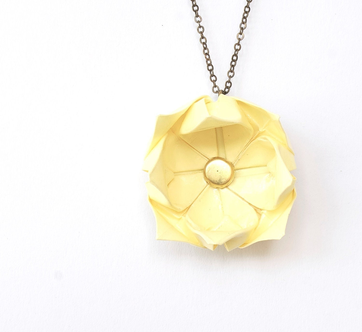 Pastel yellow lotus necklace - origami flower - MilleGrudicarta