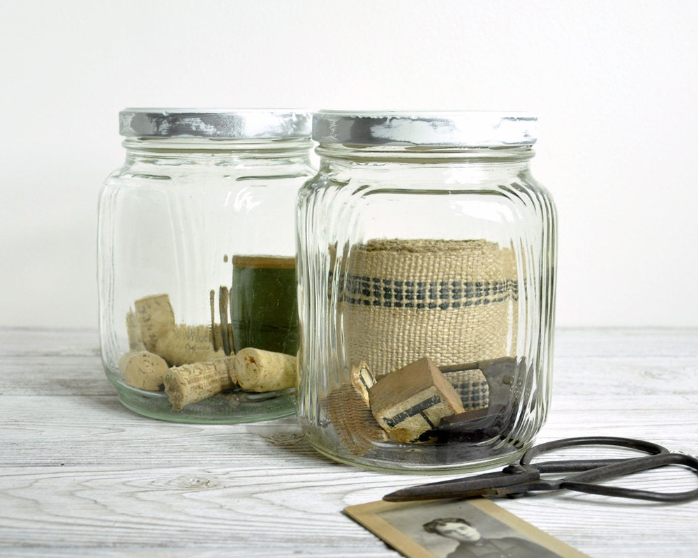 Vintage Glass Storage Jars / Industrial Storage