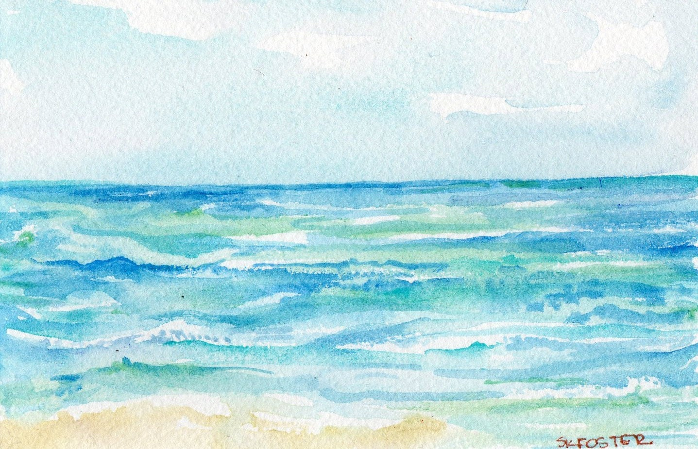 Original Ocean waves watercolor 4 by 6 inches - SharonFosterArt