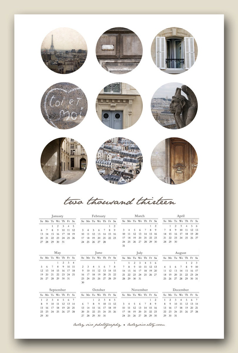 paris bubbles . . . NEUTRAL 2013 poster calendar 11x17