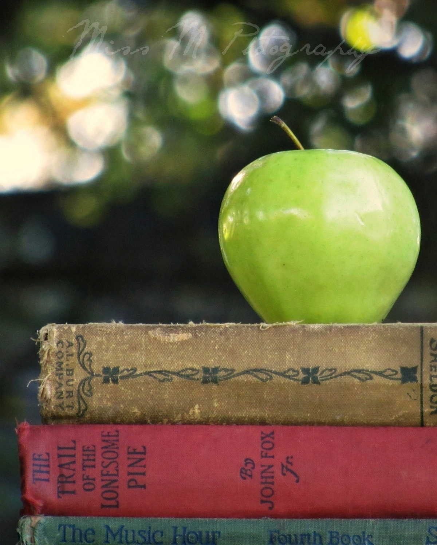 Green apple, red, tan books, teacher, bokeh, home, office decor, original fine art photograph, 8x10 print - MissMPhotography