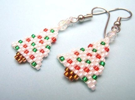 Little White Holiday Tree Beaded Earrings