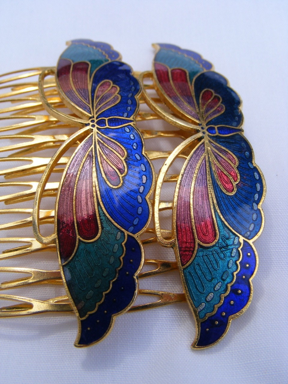 Vintage Cloisonne Enamel Butterfly Hair Combs, set of 2