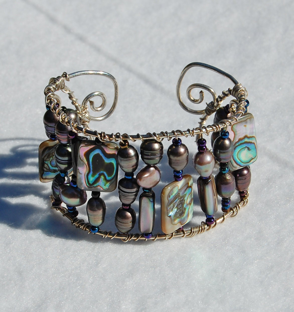 Abalone, Pearl and sterling silver cuff
