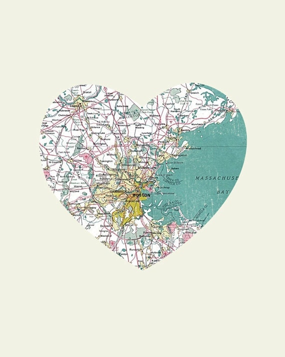 Boston Art City Heart Map - 8x10 Art Print