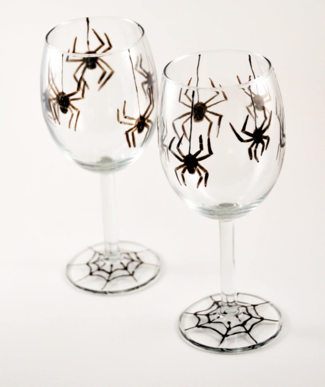 Set of Two Halloween Spiders Wine Glasses - Made to Order - Hand Painted - Black - PictureInADream