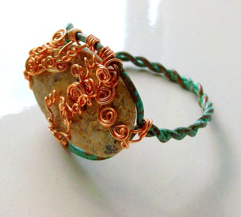 Rustic Yellow Ocean Jasper Copper Cuff Bracelet - Bohemian - Autumn - Patina - stoneandbone