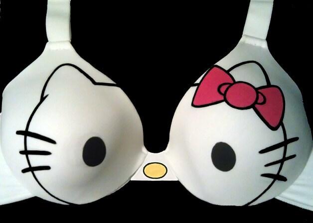 Handpainted Hello Kitty Bra