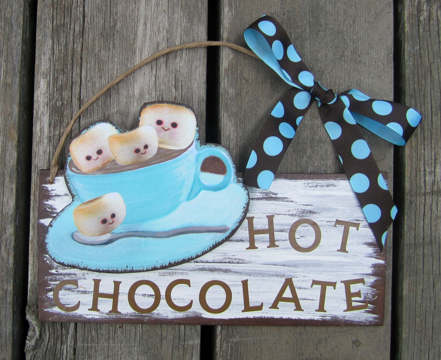 Hot Chocolate Marshmellows Nursery Bedroom Wall hanging Wood Sign by STORYTIME ART