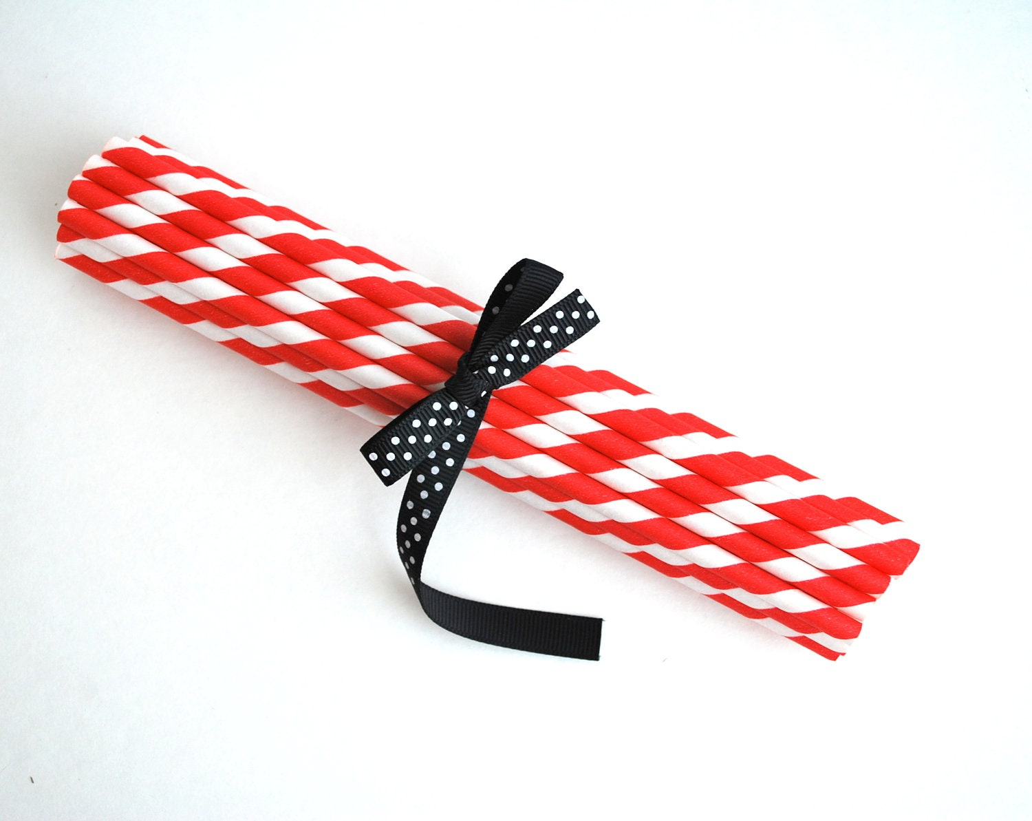 24 CHRISTMAS RED STRIPED Paper Straws a427 - Mariapalito