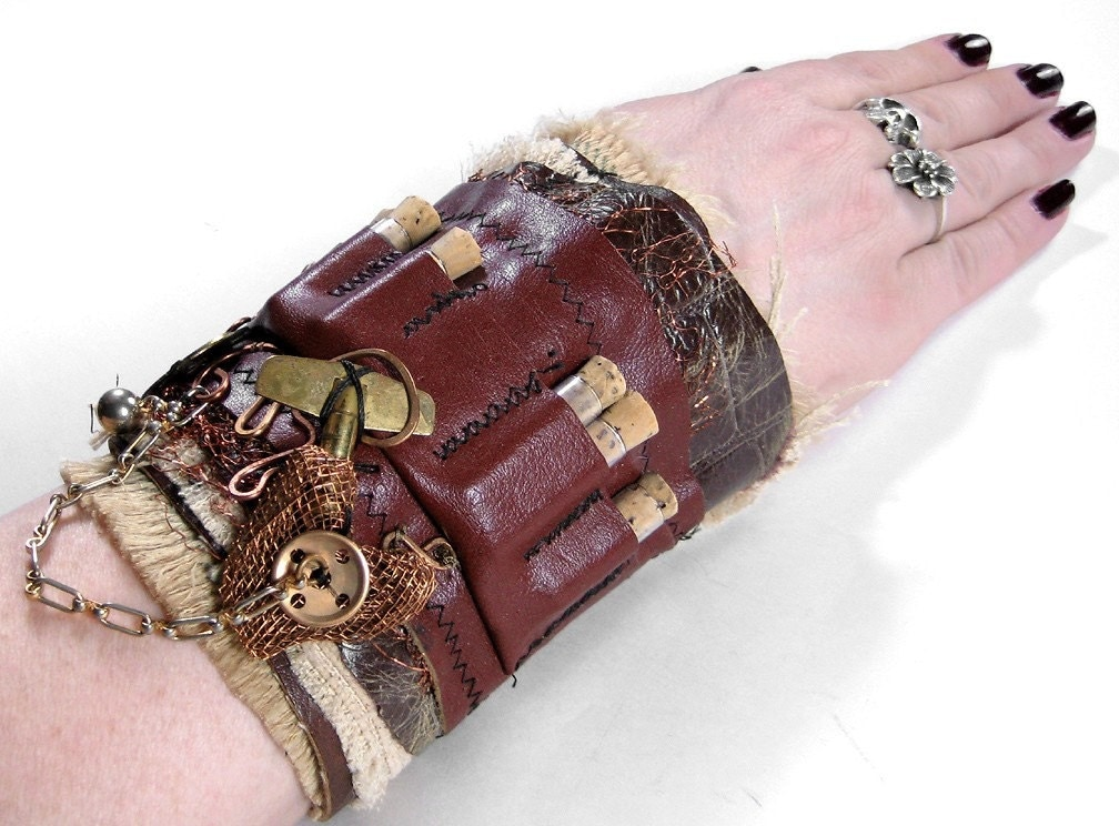 Steampunk Cuff SALE --------- Industrial LEATHeR Pockets 3D Wrist Cuff POCKETS VIALS - Vintage Gears More - Steampunk Clothing by edmdesigns - edmdesigns
