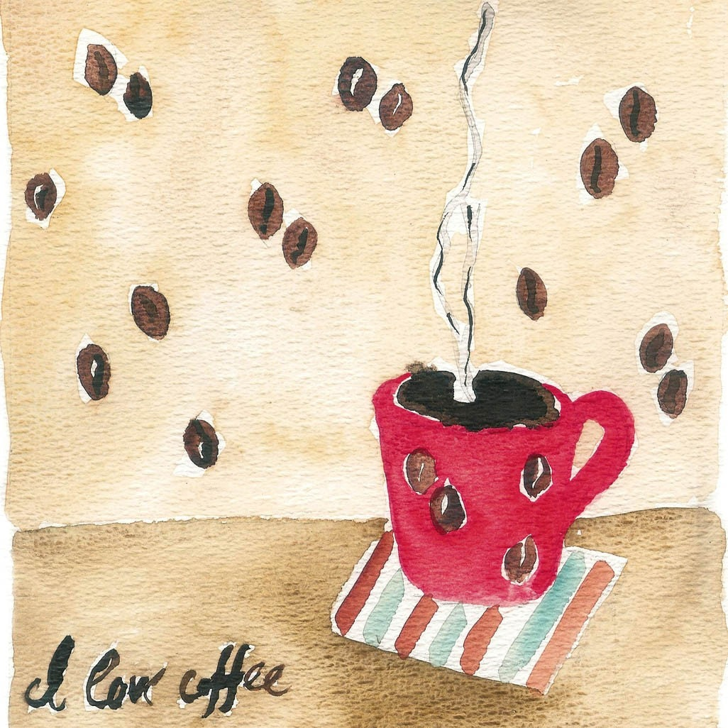Coffee Break Original Watercolor painting of a coffee cup and coffee beans wall paper