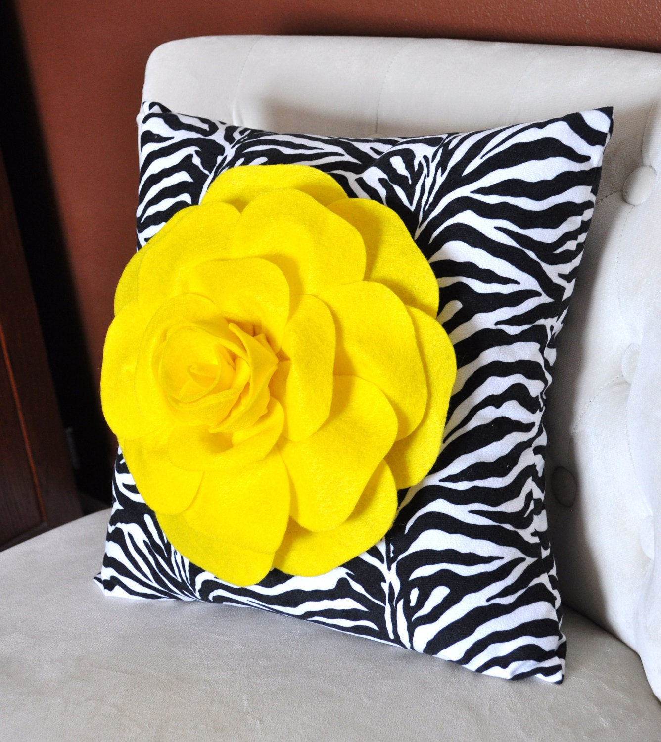 Bright Yellow Rose on Zebra Pillow 14x14