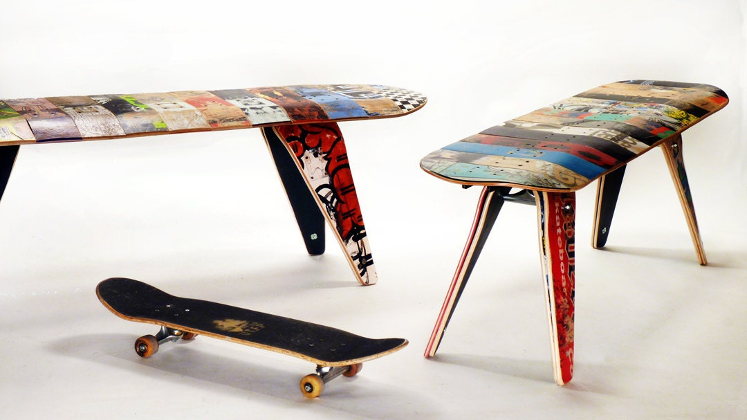 let 39 s stay recycled skateboard furniture ideas