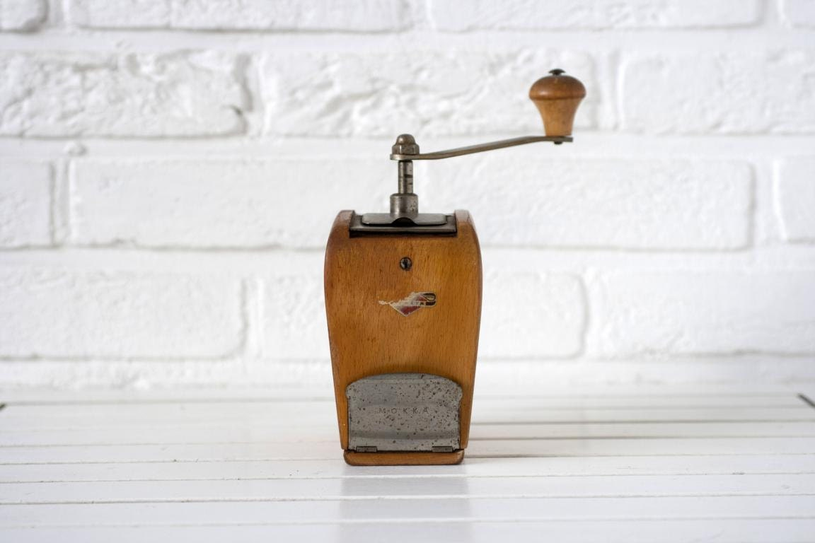 Vintage German Circa 1930s Wooden Espresso Mocha Grinder by KYM Curved Wood with Flip Top and Drawer