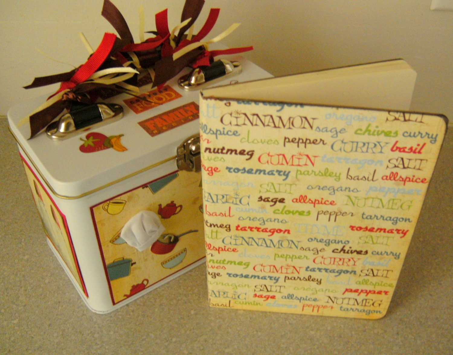 Kitchen Cooking Recipe Tin and Journal Set - New Home - Wedding - CUSTOM SETS AVAILABLE