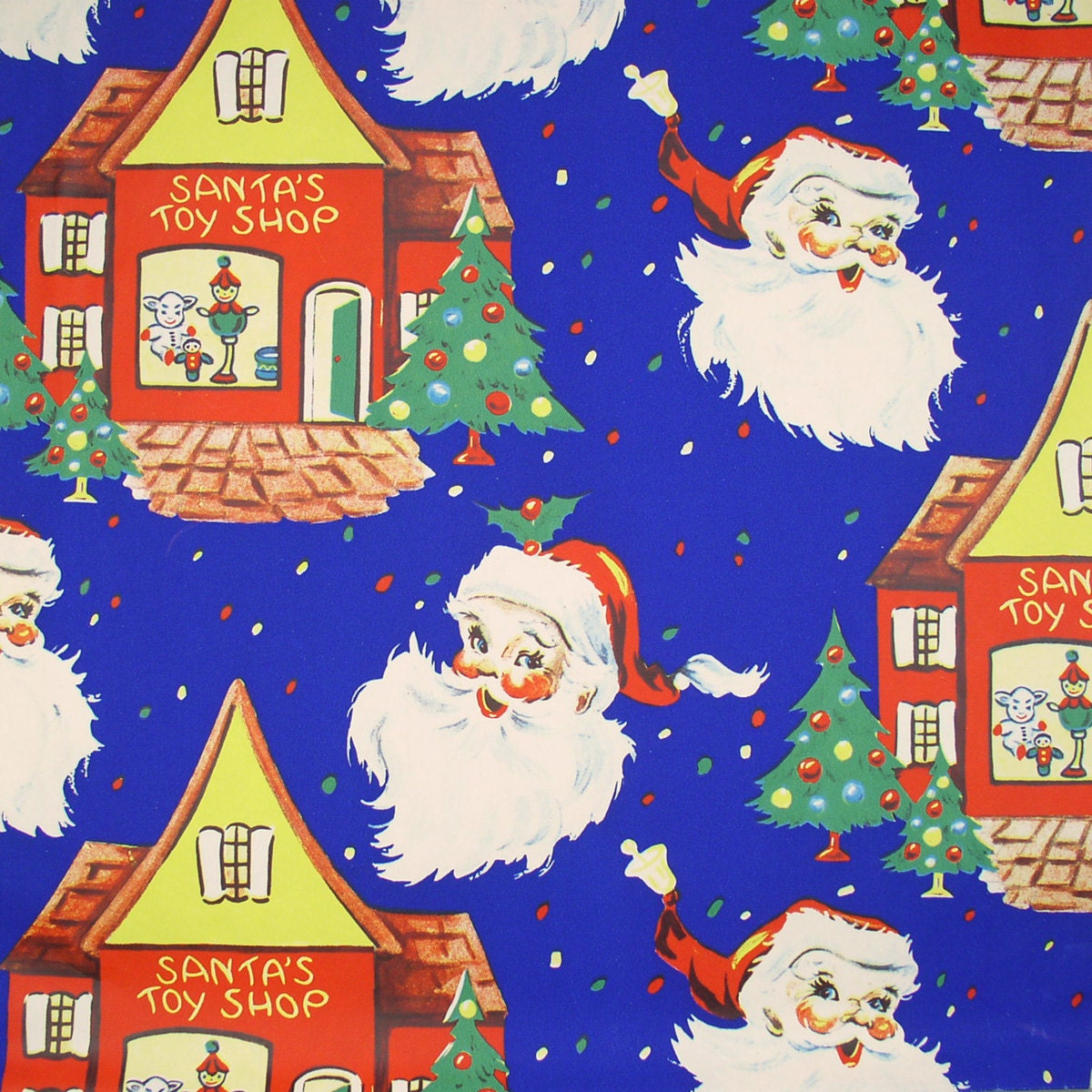 SANTA'S Toy SHOP - Vintage Christmas Wrapping Paper Gift Wrap