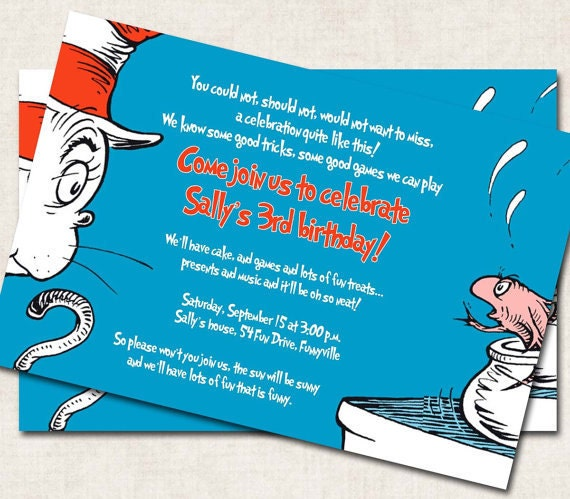 Cat In The Hat Birthday Invitations is an amazing ideas you had to choose for invitation design