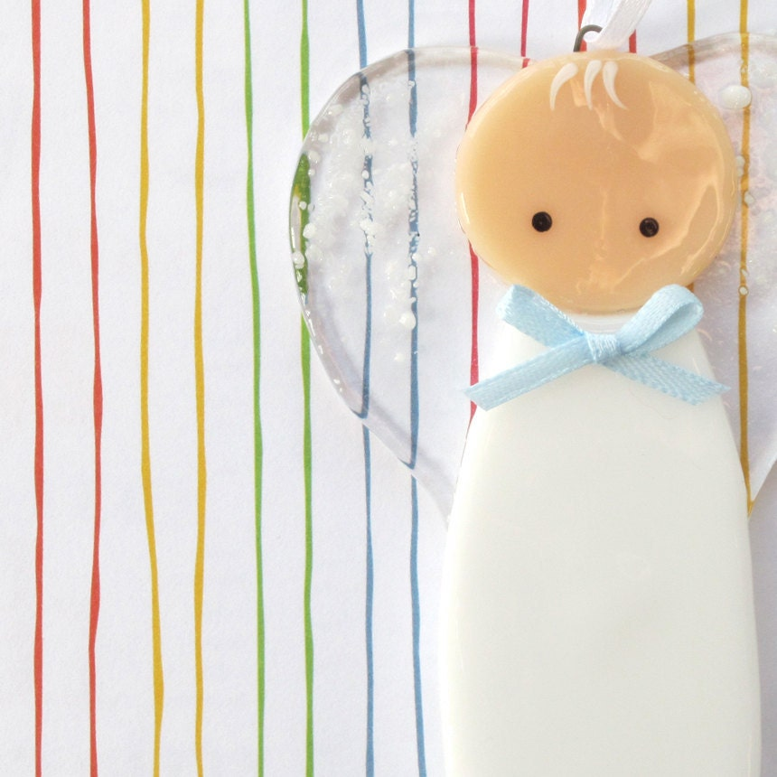 011 - Baby boy ornament, decoration, guardian angel, baptism, adoption, shower, loss, cgge, etsylush, handmade