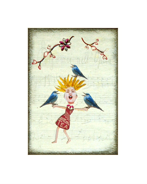 collage singing bird girl bluebirds happy tagt team art - PetCollage